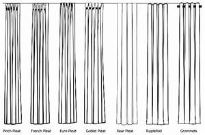 Types of drapery pleats available through orange county for Types of pleat curtains