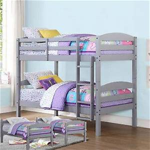 twin bunk beds gray wood kids bed bedroom furniture ladder With beautiful bunk bed 4 teens