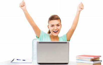 Laptop Happy Woman Student Business Hands Lady