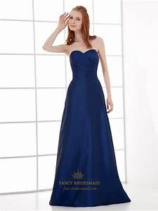 Navy Blue Strapless Sweetheart Taffeta Bridesmaid Dress ...