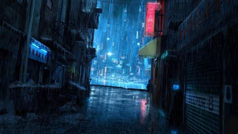 Cyberpunk City Fantasy Cuberpunk City Rain Hd Wallpapers