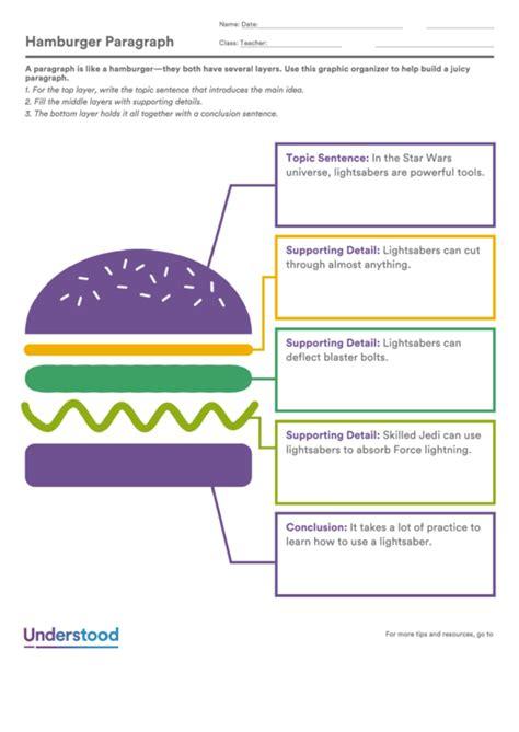 fillable hamburger paragraph printable