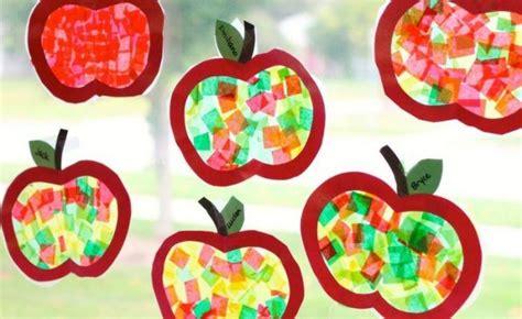 Herbstdeko Fenster Basteln Kindern by Apfel Fensterbilder Mit Seidenpapier Basteln