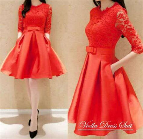 mini dress brukat merah terbaru cantik modis ryn fashion