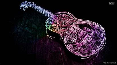 Neon Guitar Outline Glowing Wallpapers Acoustic Notes