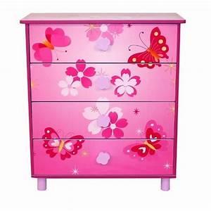 Commode Enfant Pas Cher : commode 4 tiroirs chambre enfant motif papillon rose ~ Teatrodelosmanantiales.com Idées de Décoration
