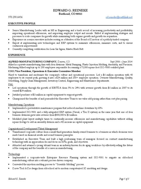 Resume For General Manager Manufacturing by Vp Manufacturing General Manager In Denver Co Resume