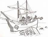 Boston Coloring Tea Pages Sketch Drawings Template Drawing Ship Coloringhome Harbor Sketches Revolution American Childhood Physical Education Early sketch template