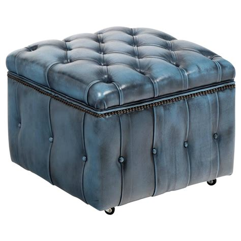 Blue Leather Ottoman - vintage steel blue leather chesterfield storage ottoman at