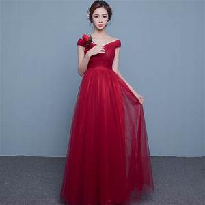 red evening dresses long tulle women evening party dress With robe de soirée empire