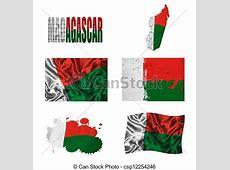 Dessin de collage, madagascar, drapeau Madagascar