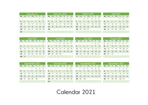 26+ 2021 Printable Year Calendar One Page  Background