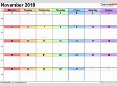 November 2018 Calendar PDF 2018 calendar with holidays