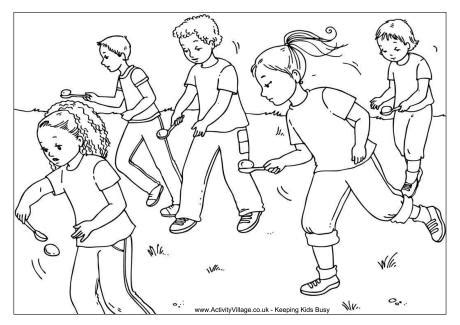 egg  spoon race colouring page