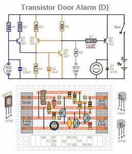 Four Small Transistor Alarm Circuits Circuit Diagram And