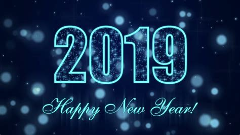 Happy New Year 2019 With Glowing Particles On The Dark
