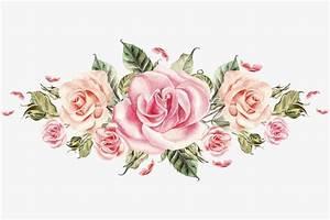 Pintado A Mano De Rosas Rosadas Cluster Pintado A Mano