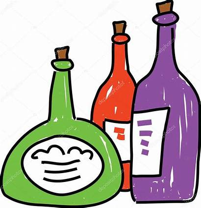 Bottles Cartoon Wine Clipart Clip Shapes Bottle