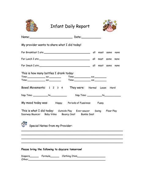 infant daily report form infant daily report daycare forms pinterest