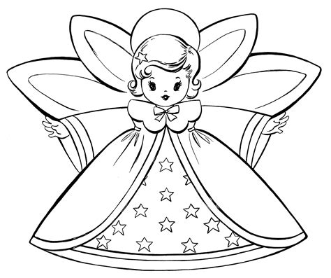 christmas coloring pages retro angels