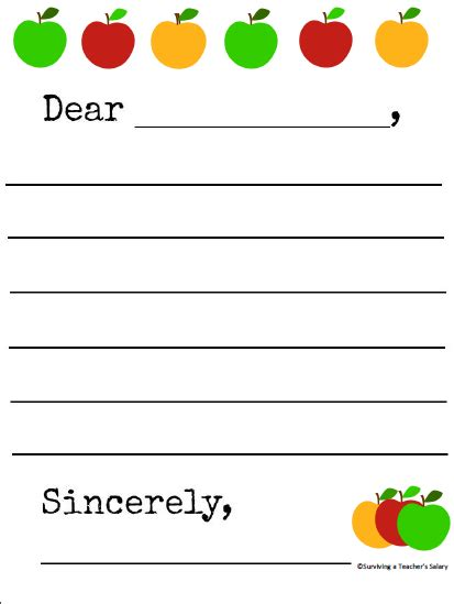 printable apple themed letter writing template
