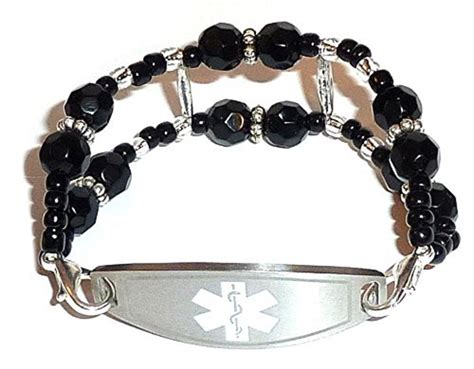black stylish medical alert bracelet hidden hollow beads