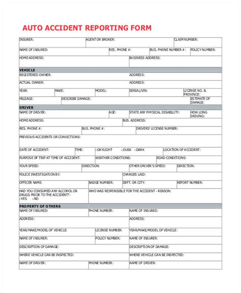 26+ Sample Accident Report Forms