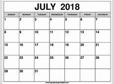 Calendar For July 2018 Location Calendar Template Printable