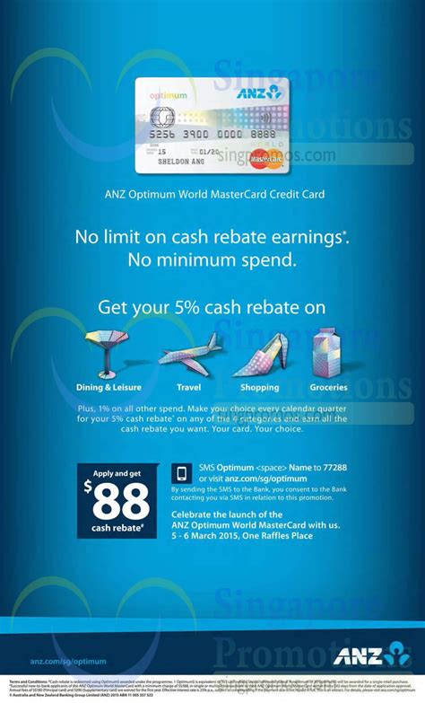 While fake credit card information and number seem like a scary situation, it's actually not something to worry about. ANZ New 5% Cash Rebate Optimum World MasterCard Credit ...
