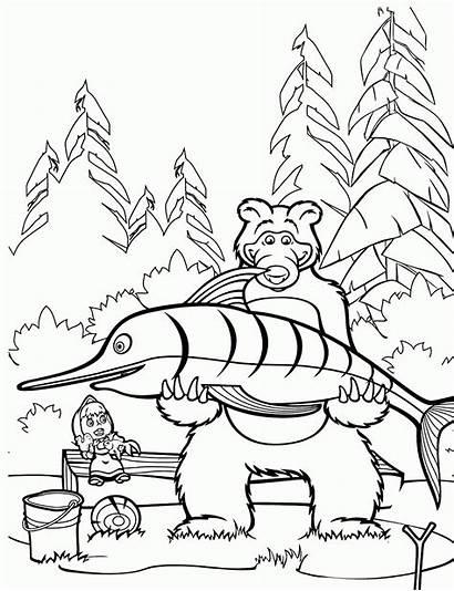 Masha Bear Coloring Pages Printable Azure Eyed