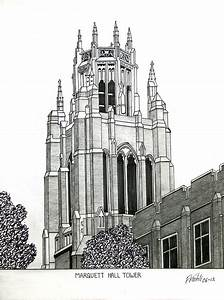 Marquette University Drawing by Frederic Kohli