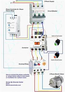 Wiring Diagram For Motor Starter 3 Phase Controller Failure Relay Electrical Pleasing Three And