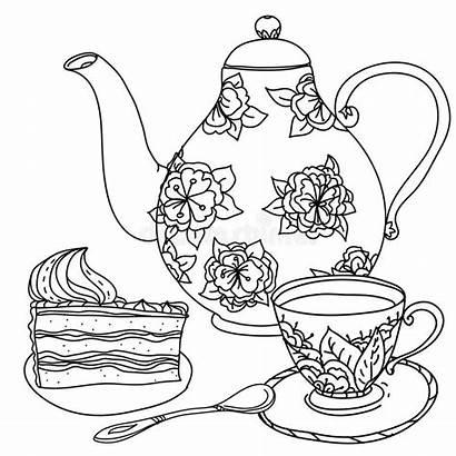 Tea Cups Illustration Honey Drawn Hand Pot