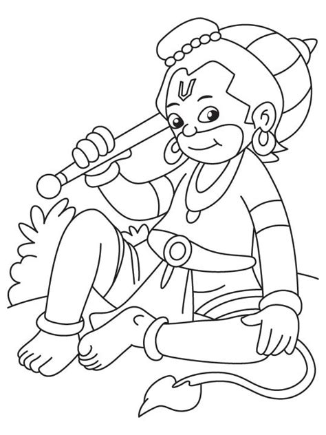 small hanuman sitting coloring page   small