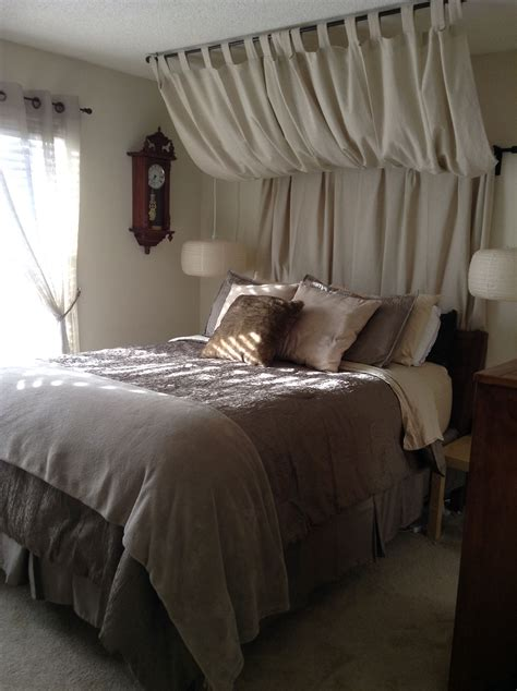 curtain headboard perfect  disguise  pipe crafts