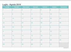 Calendario luglio agosto 2019 da stampare iCalendarioit