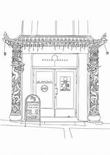Restaurant Coloring Chinese Printable Edupics sketch template