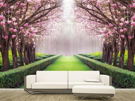 custom  wallpaper beautiful scenery flowers  trees