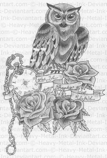 owl+book+and.roses+tattoo | Owl tattoo | •°Tattoos°• | Half sleeve tattoos drawings, Tattoos for