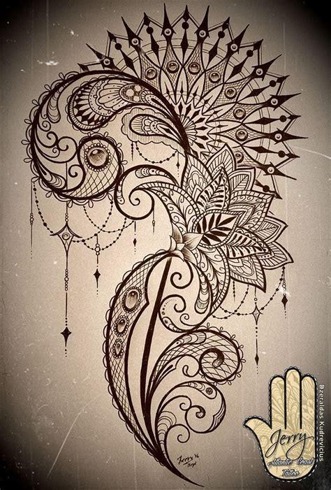 mandala  lace thigh tattoo concept design  lotus