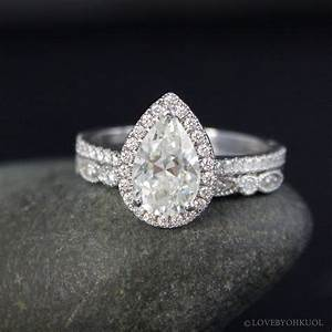 forever one white gold vintage pear cut moissanite halo With pear diamond wedding ring