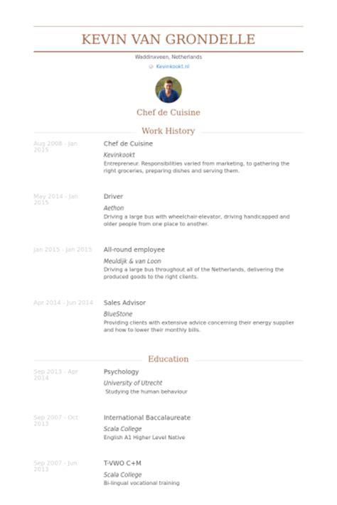 chef de cuisine resume sles visualcv resume sles