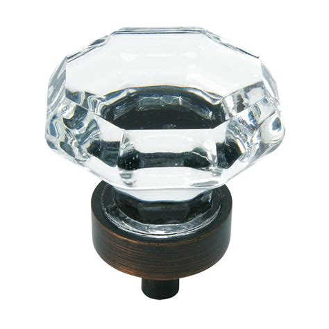 Oil Rubbed Bronze & Clear Glass Cabinet Knob