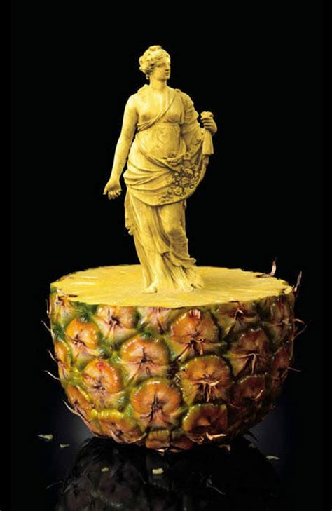 amazing edible sculptures carved  fruit