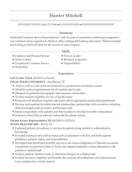 resumes  call centers mryn ism