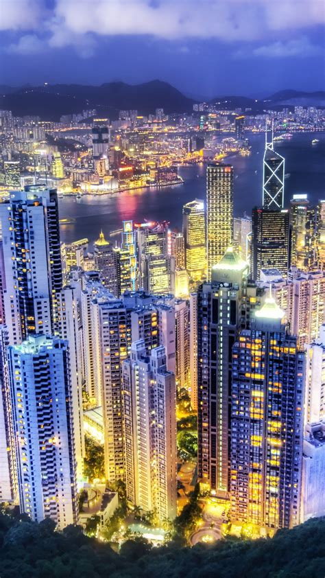 hong kong city  wallpaper aerial view night lights cityscape sunset skyscrapers vibrant
