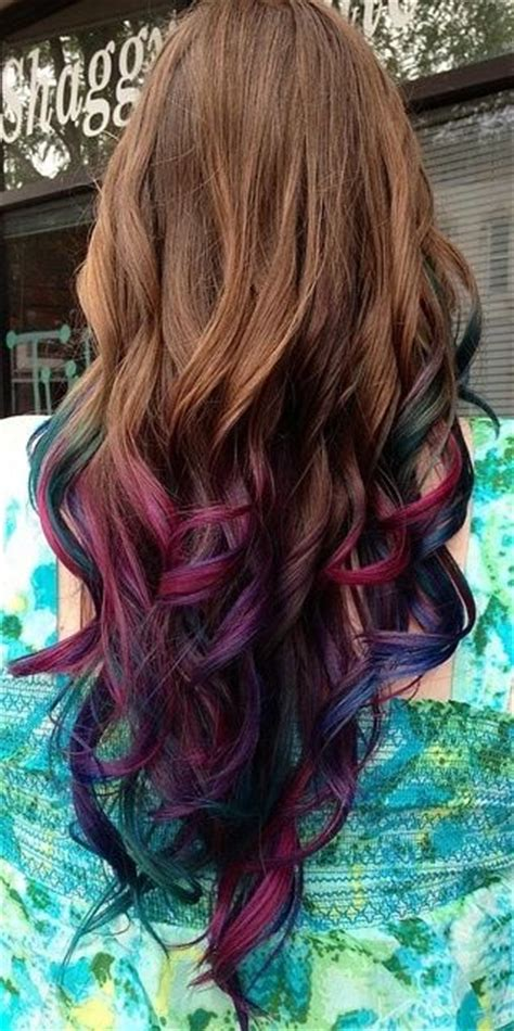 Dip Dye Hair Brownpink Green Blue Purple Shades Dip