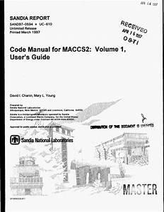 Code Manual For Maccs2  Volume 1  User S Guide