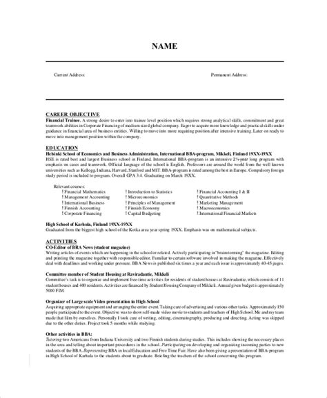 resume objective in finance 9 resume objective sles exles templates