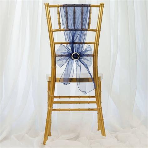 navy blue organza chair sash efavormart